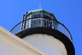 The tower and lantern room atop the Old Point Loma Lighthouse.