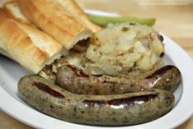 Bratwurst sandwich with German potato salad