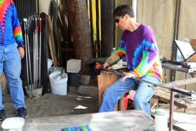 Glass blowing in action
