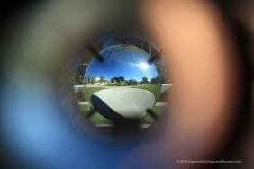 View through one sphere to check the alignment of the other.