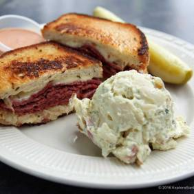 Reuben sandwich with potato salad