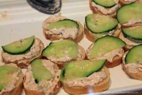 House of Finland salmon spread on baguette with cucumbers